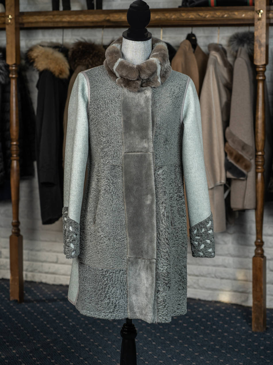 Mint Shearling & Cashmere Reversible with Fur Trim