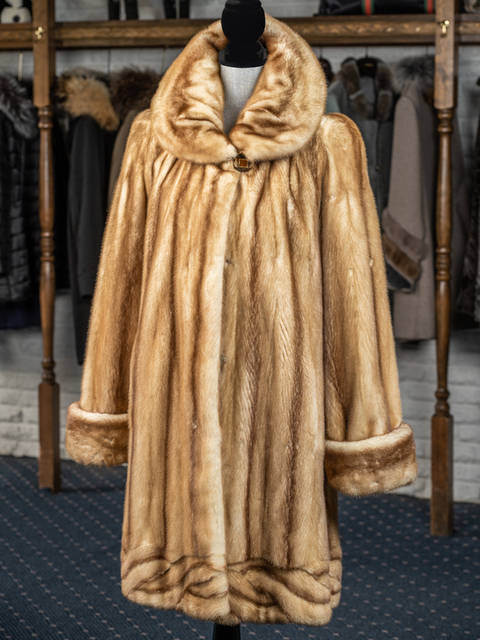 Carmel Mink with Lattice Bottom 7/8 Coat
