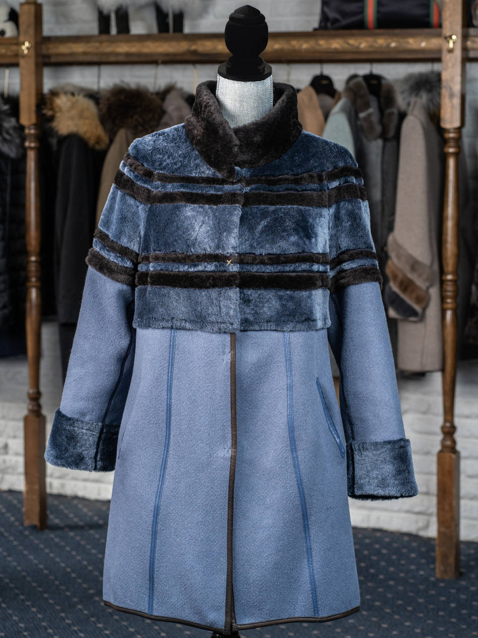 Navy Shearling & Cashmere 3/4 Reversible Coat