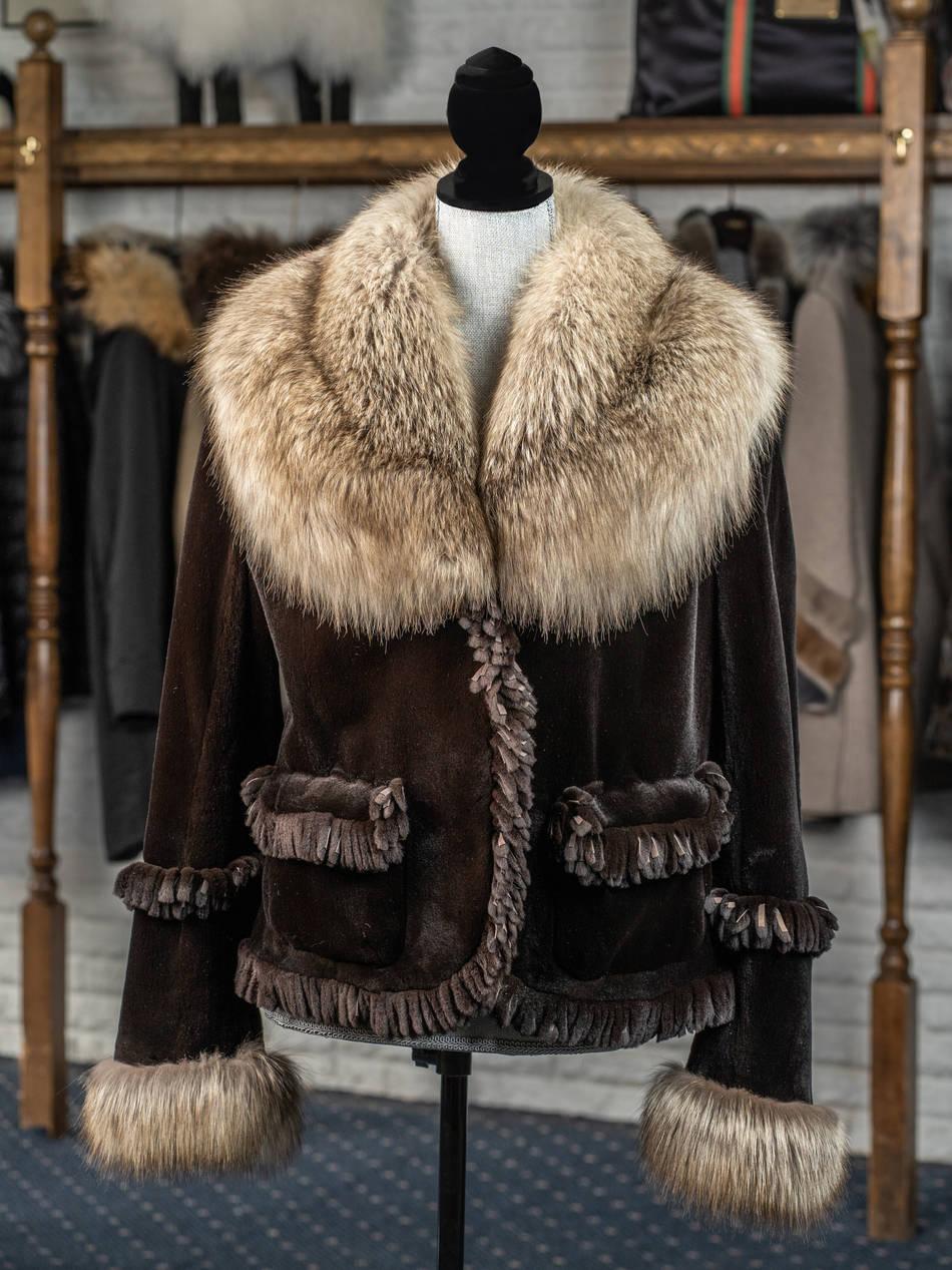 Brown Mink & Cross Fox Trim Fringe Jacket