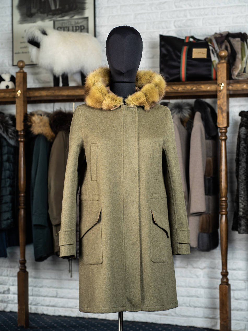 100% Cashmere 3/4 Coat with Golden Sable Hood