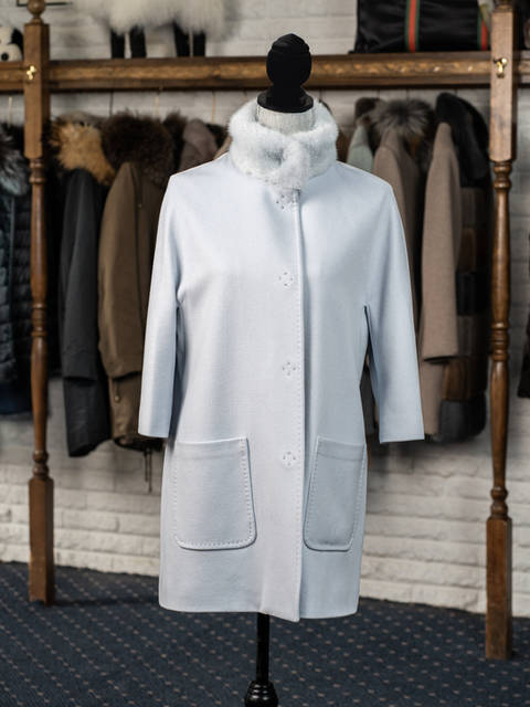 Powder Blue Cashmere Coat with Mink Trim Collar with Opera Sleeves