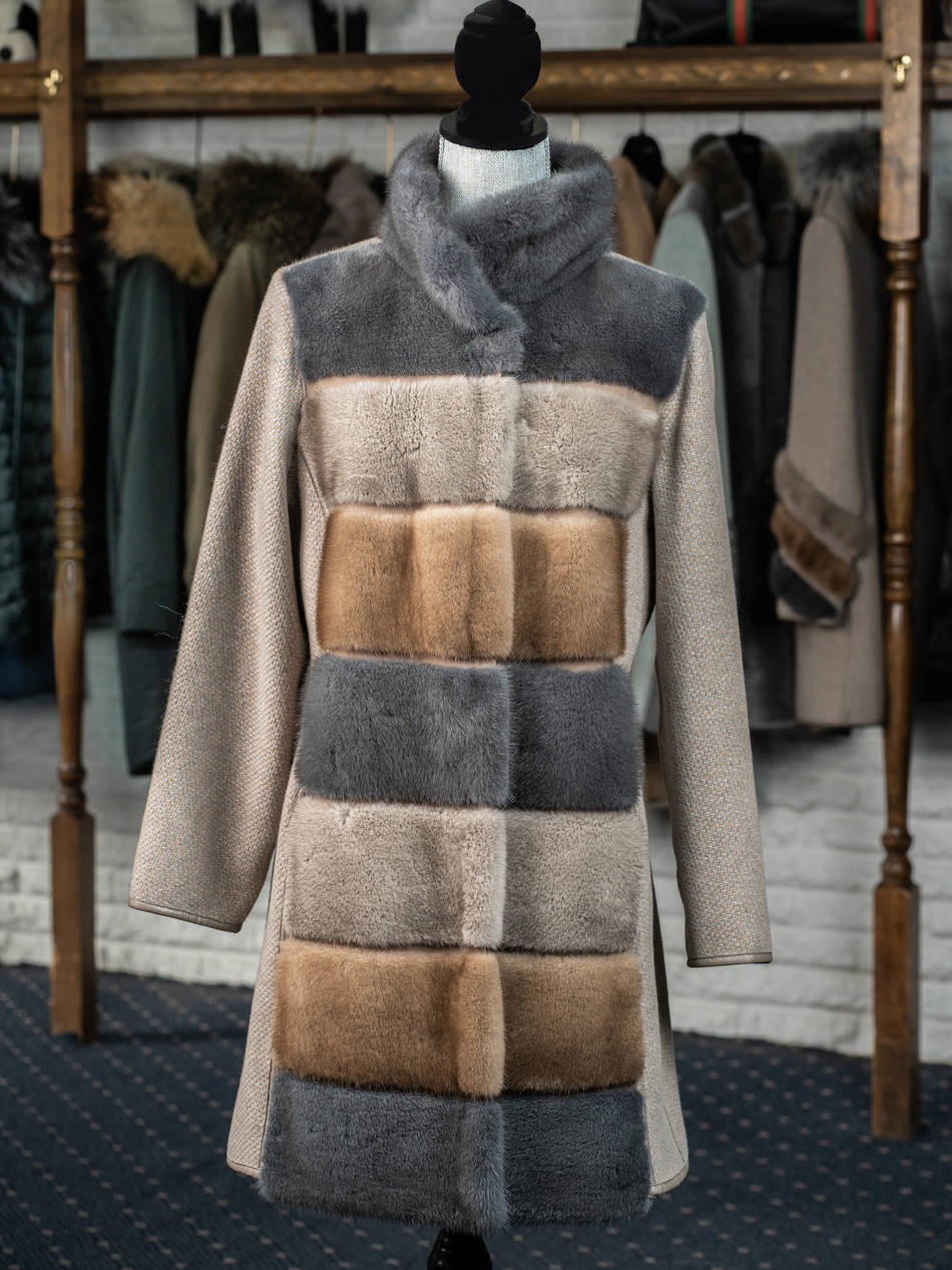 Three Tier Mink and Cashmere 3/4 Coat