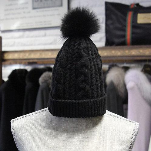 Black Cashmere Knit Beanie
