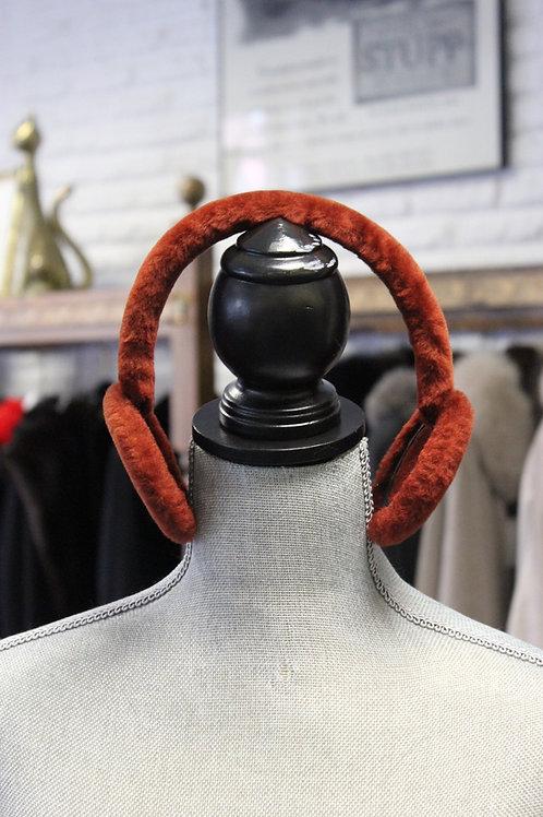 Orange Shearling Earmuffs