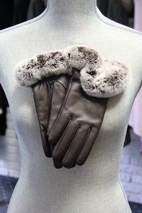 Brown Leather Rex Trim Gloves