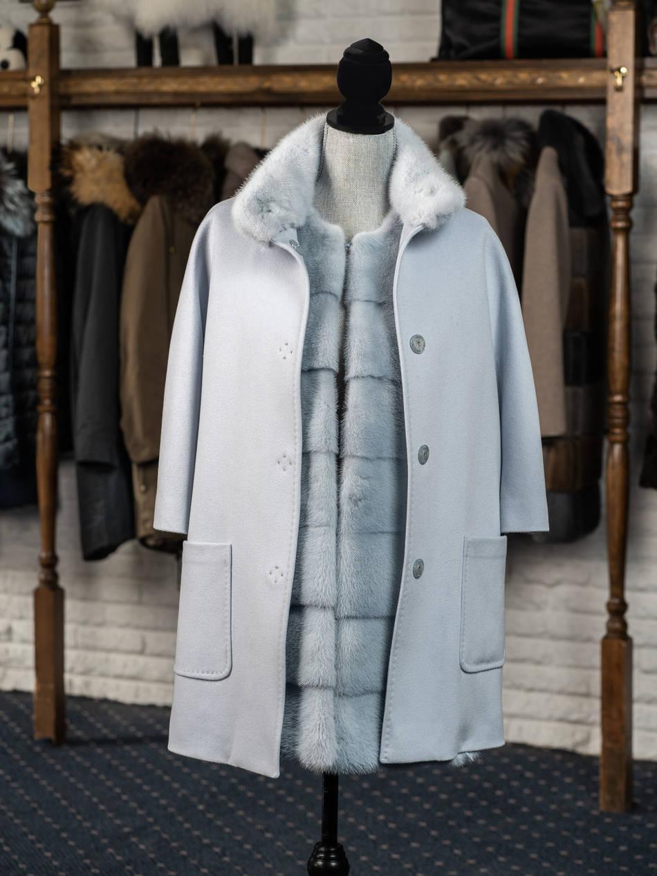 Powder Blue Cashmere Mink Trim with Matching Mink Vest
