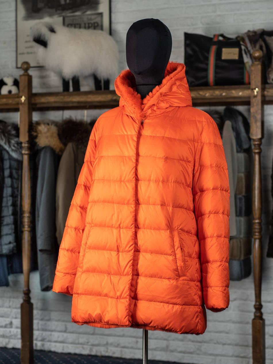 Orange Red Quilted Reversible Rex Hooded Jacket