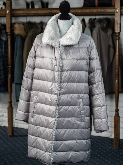 Silver Quilted Reversible Rex 3/4 Coat
