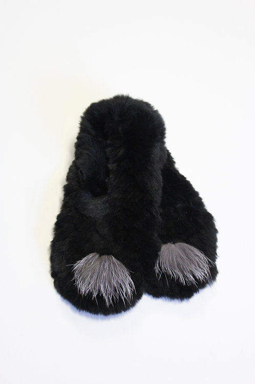 Black Lapin Knit Slippers Size Small