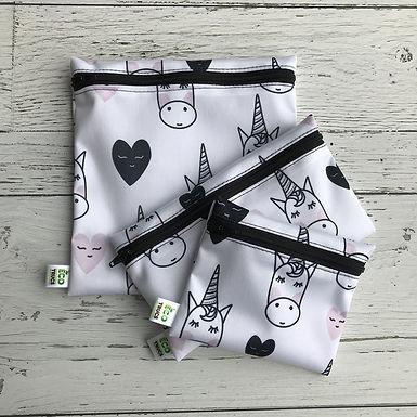 Lunch Bag Trio - Unicorns & Hearts