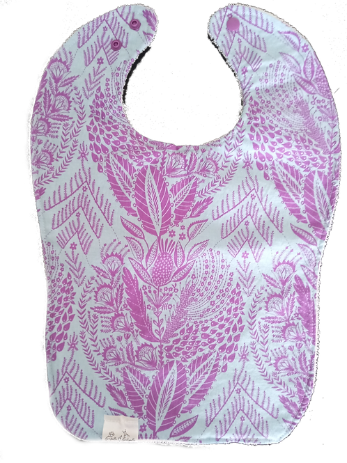 Bib Cotton & Terrycloth - Flowers & Purple Leaves