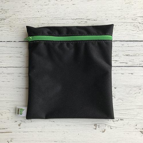 Reusable Sandwich Bag - Black & Green Zipper