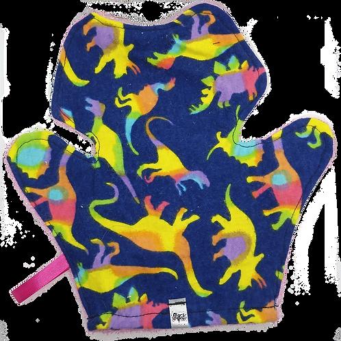 Bath Mitt Terrycloth - Dinosaurs On Dark Blue Background