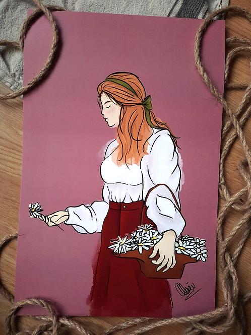 "Illustration - Marguerite 11.5""x17.5"""