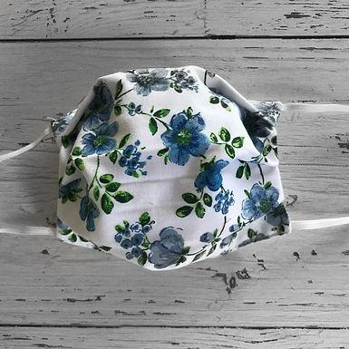 Reusable Face Mask - Blue flowers (Children)