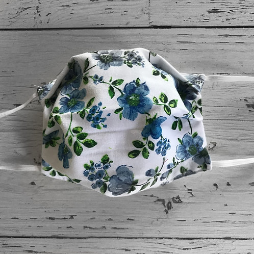 Reusable Face Mask - Blue flowers (Children)