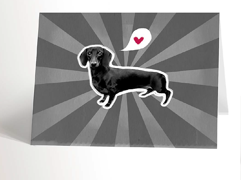 Black & White Dachshund Card
