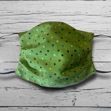 Reusable Face Mask - Green Polka Dots (Children)