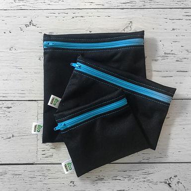 Lunch Bag Trio - Black & Blue Zipper