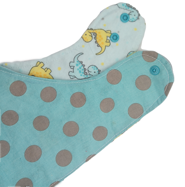 Triangle Bib Cotton & Flannel - Grey Dots On Blue Background & Dino