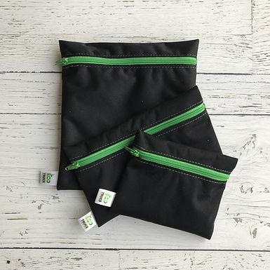 Lunch Bag Trio - Black & Green Zipper