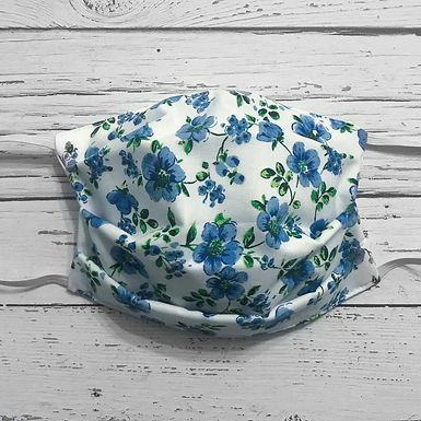 Reusable Face Mask - Blue Flowers (Adult)