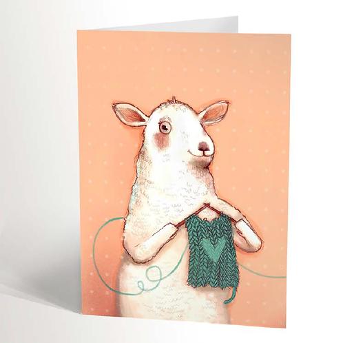 Knitting Sheep Card