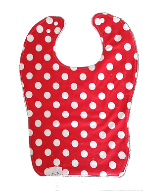 Bib Cotton & Terrycloth - Dots On Red Background