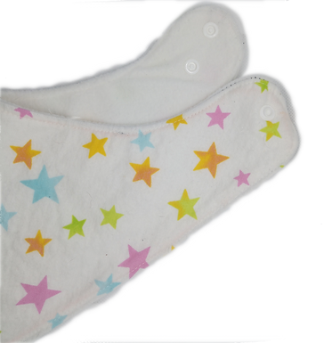 Triangle Bib Flanel & Micropolar - Stars On White Blue Background