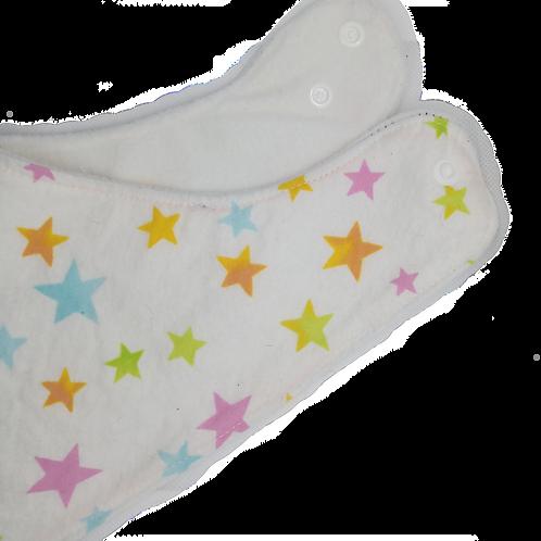 Triangle Bib Flanel & Micropolar - Stars On White Blue Background