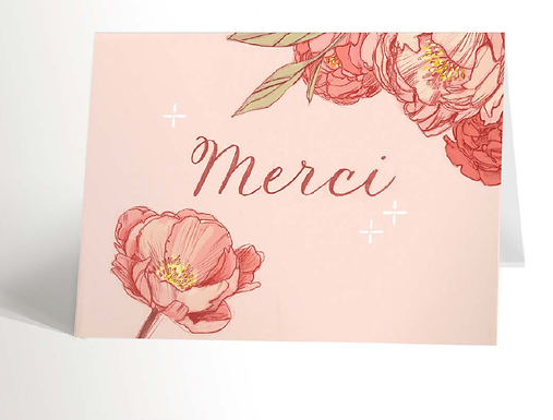 Thank You With Peonies Card (French)