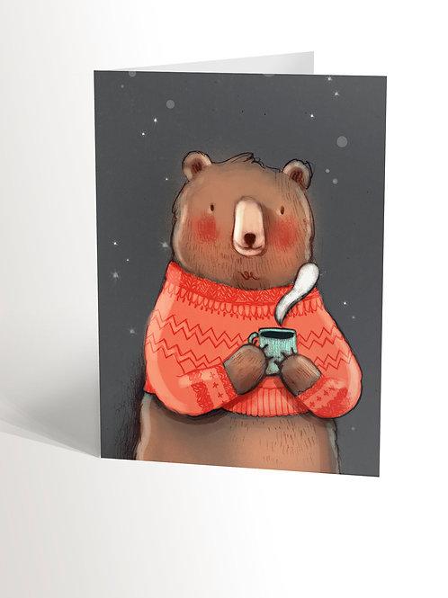 Bear With Wool Sweater Card