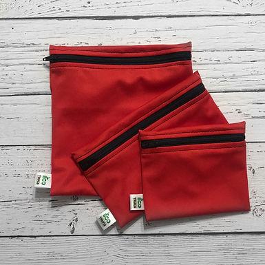 Lunch Bag Trio - Red & Black Zipper
