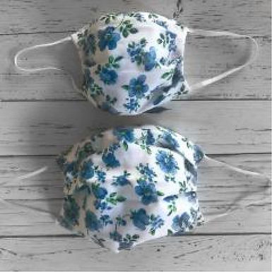 Duo of Reusable Masks - Blue Flowers (Adult & Children)