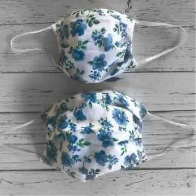 Duo of Reusable Masks - Blue Flowers (Adult & Children)