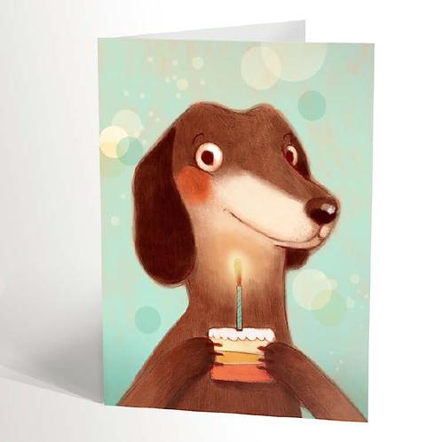 Dachshund & Little Cake Card