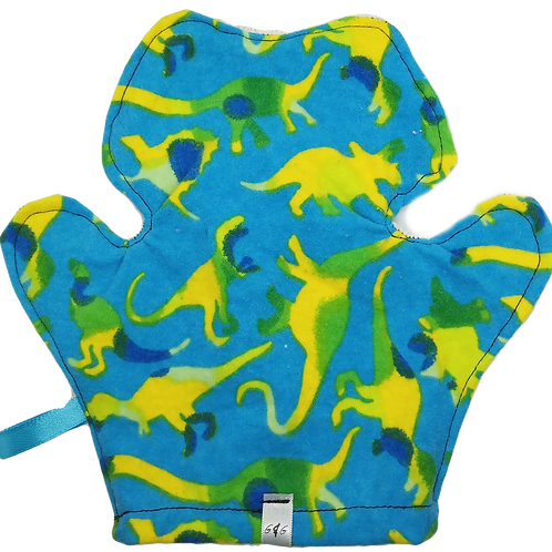 Bath Mitt Terrycloth - Dinosaurs On Light Blue Background