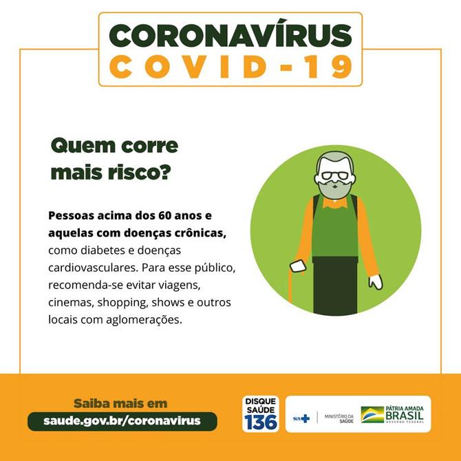 Coronavírus: Ministério da Saúde alerta sobre pessoas do grupos de risco