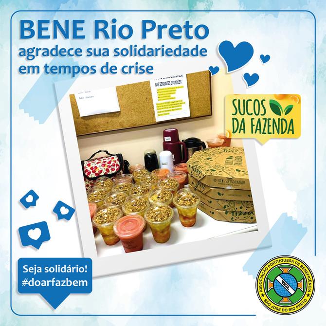 Bene Rio Preto agradece ao Sucos da Fazenda pela solidariedade aos nossos profissionais de saúde