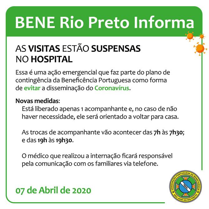 Novas medidas do plano de contingência: as visitas estão suspensas na Bene Rio Preto!
