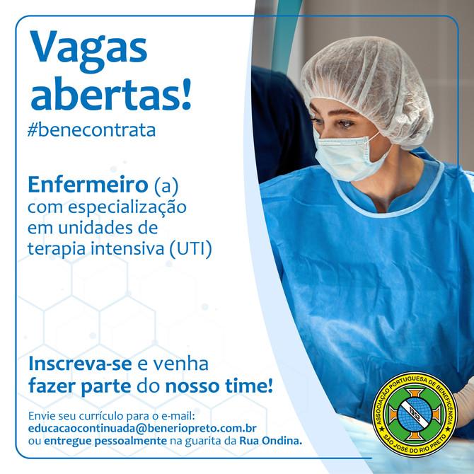 Vagas para Enfermeiro e Técnico de Enfermagem