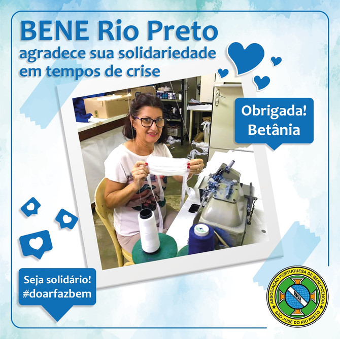 Colaboradora da Bene Rio Preto confecciona máscaras para ajudar hospital