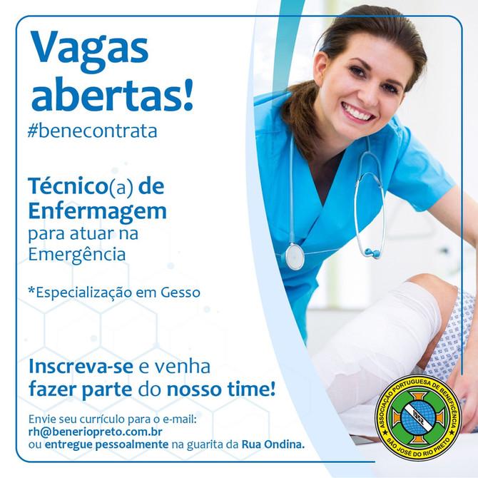Vaga Aberta: Técnico de Enfermagem especializado em Gesso