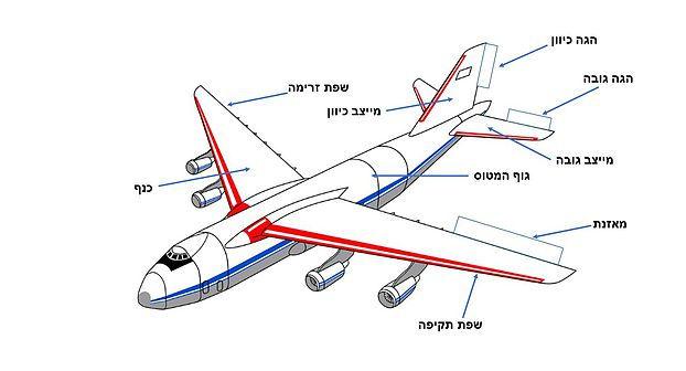 תרשים של מטוס וחלקיו