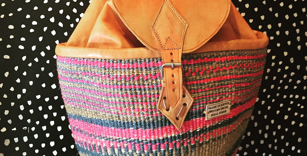 Leather & Sisal backpack