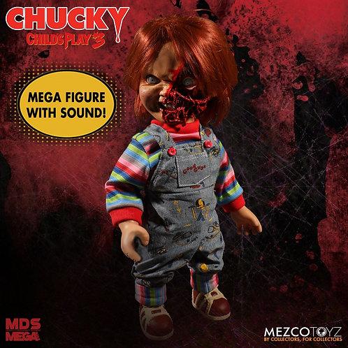 "MEZCO TOYZ 15"" MEGA SCALE CHILD'S PLAY 3 TALKING PIZZA FACE CHUCKY"