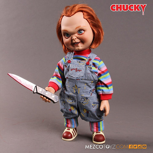 "MEZCO TOYZ 15"" MEGA SCALE CHILD'S PLAY TALKING CHUCKY SNEERING"