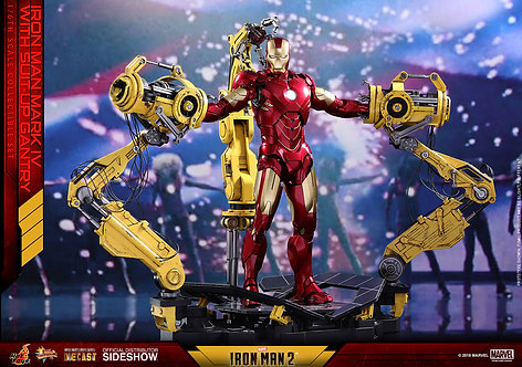 HOT TOYS IRON MAN 2 MARK IV DIECAST WITH SUIT UP GANTRY