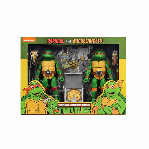 NECA TEENAGE MUTANT NINJA TURTLES TARGET EXCLUSIVE MICHELANGELO AND RAPHAEL 2PK